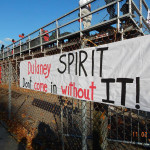 A banner encourages spectators  to show spirit at the Nov. 2 2013 homecoming game.