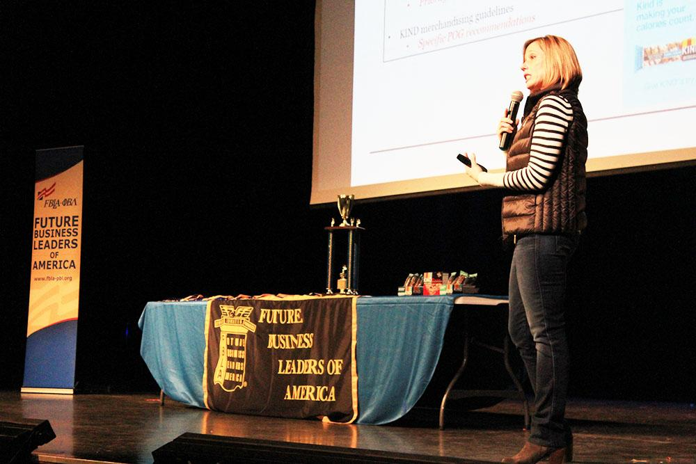 Joanne Bolonda, vice president of field sales at KIND snacks  speaks at the Future Business Leaders of America Regional Conference in the auditorium here Jan. 20. Bolanda explained how her firm uses consumer marketing to create new snacks their customers truly want.