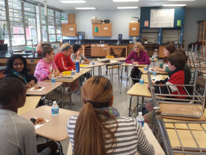 Principal Lynda Whitlock met with a student council to discuss the planned schedule change for the 2014-2015 school year.