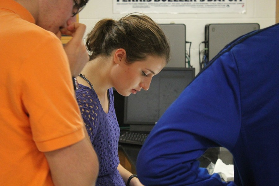 Senior Lisa McCullough works in her physics class.