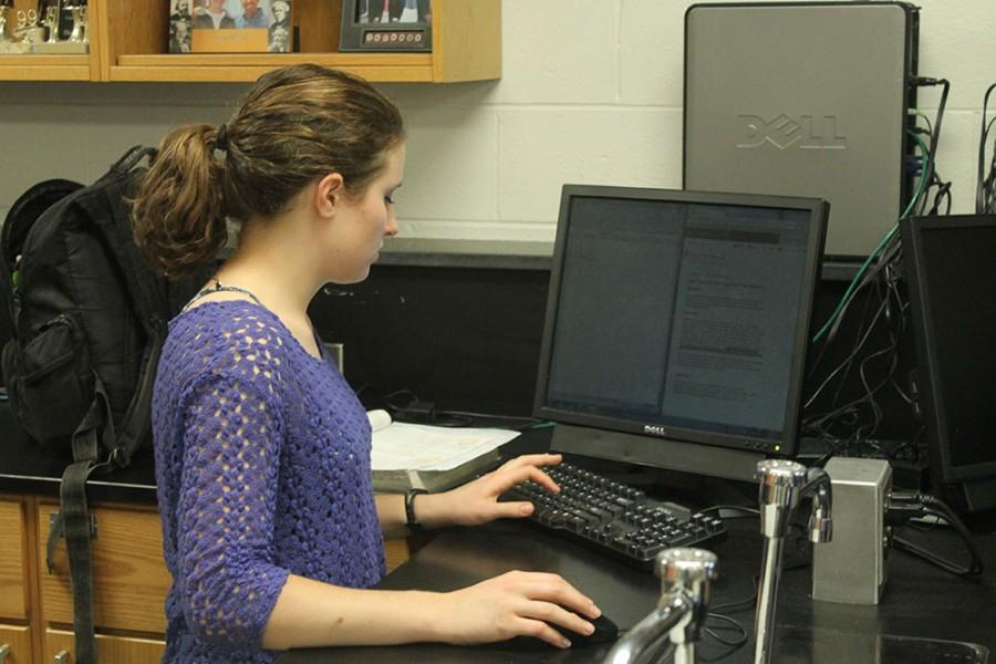Senior Lisa McCullough uses her skills to complete her assignment.