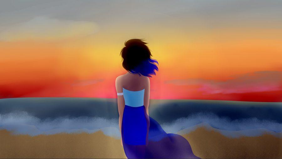 Shearman's piece of a girl staring at the sun.