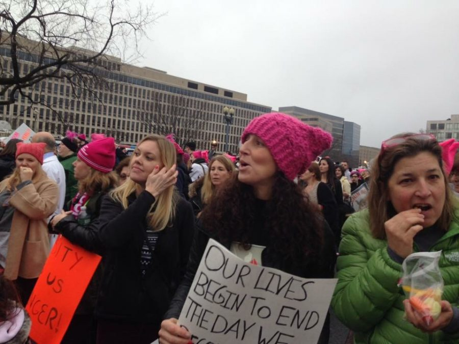 Science teacher Cristina Reitmeyer protests in the Women's March Jan. 21.