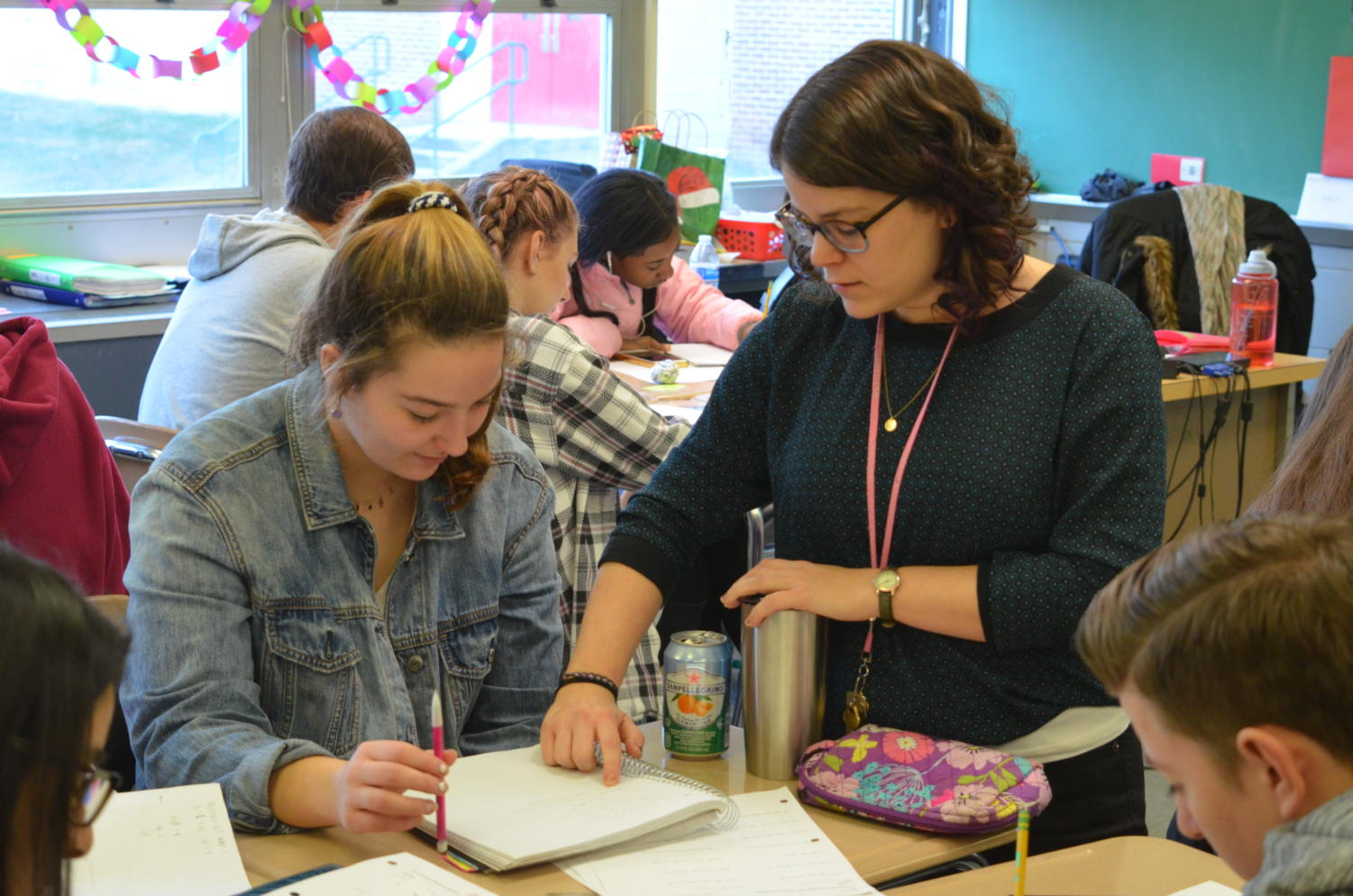 Junior Ana Triantafilou collaborates with math teacher Allison Klein.
